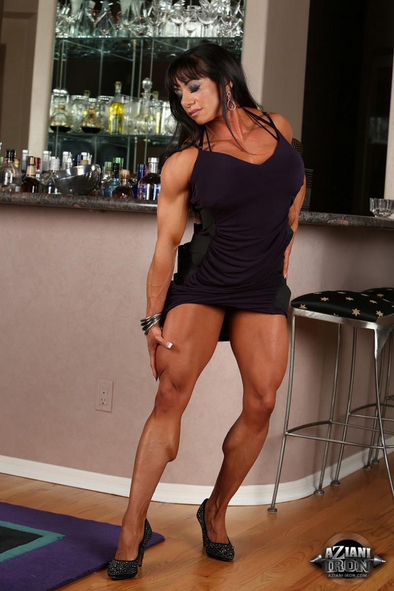 MARINA LOPEZ - muscle babe strips nude out of lingerie.