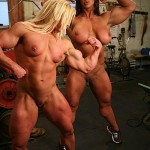 two nude fbb flexing in the gym